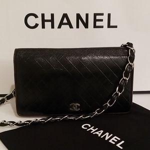 Chanel Matelasse 2 Tone Clutch Purse Crossbody